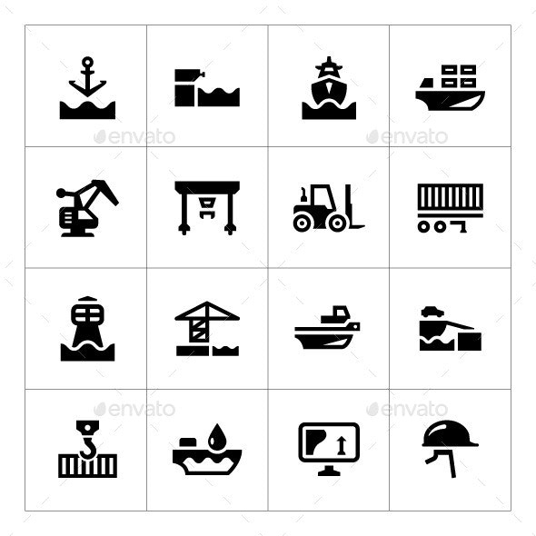 Set Icons of Seaport - Man-made objects Objects