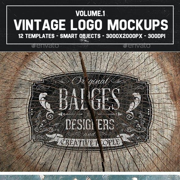 12 Vintage Logo Mockups Vol.1