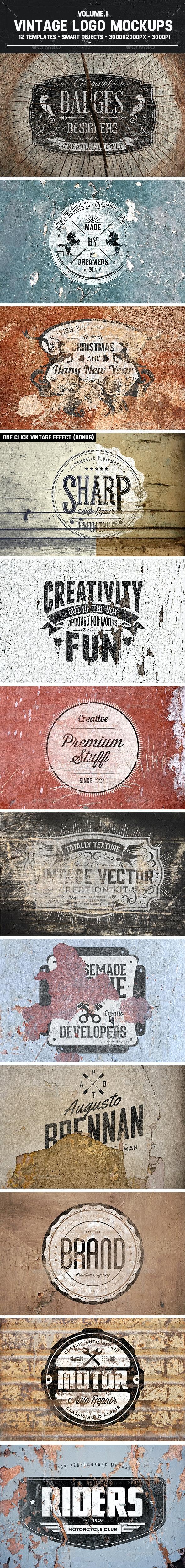 12 Vintage Logo Mockups Vol.1 - Product Mock-Ups Graphics
