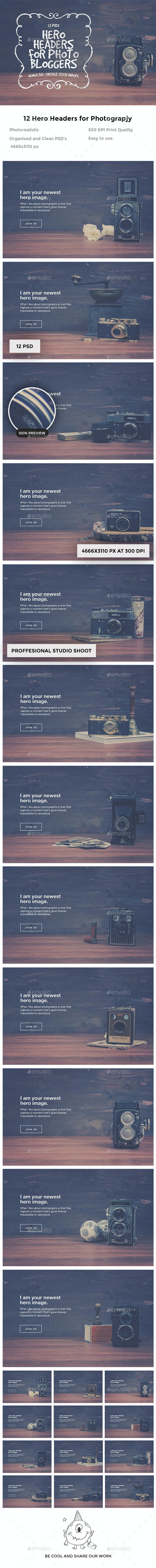 Hero Headers for Photo Bloggers - Sliders & Features Web Elements