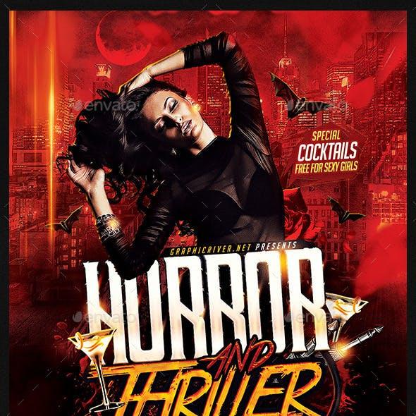 Horror and Thriller Halloween DJ Party Flyer