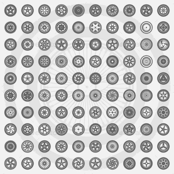 Car Wheel and Rims Set - Objects Vectors