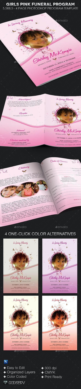 Girls Pink Funeral Program Template - Informational Brochures