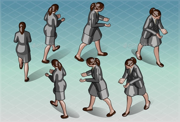 Isometric Woman that Transporting Something - People Characters