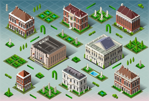 Isometric Historic American Building  - Buildings Objects