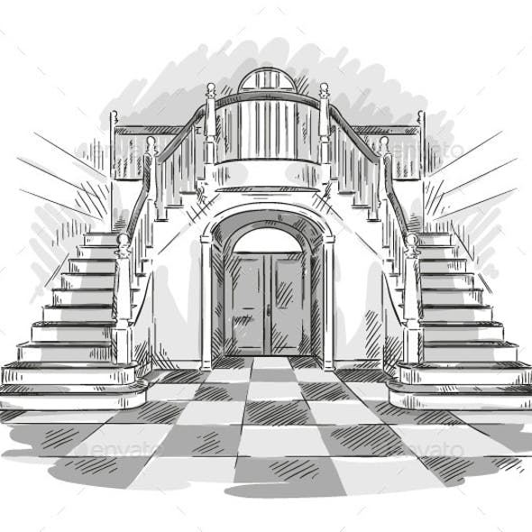 Spacious Hall and Staircase Drawing