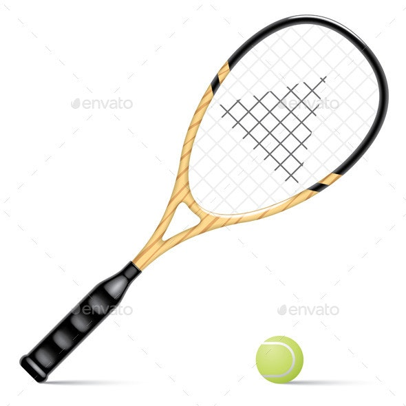 Racket and a Tennis Ball - Objects Vectors