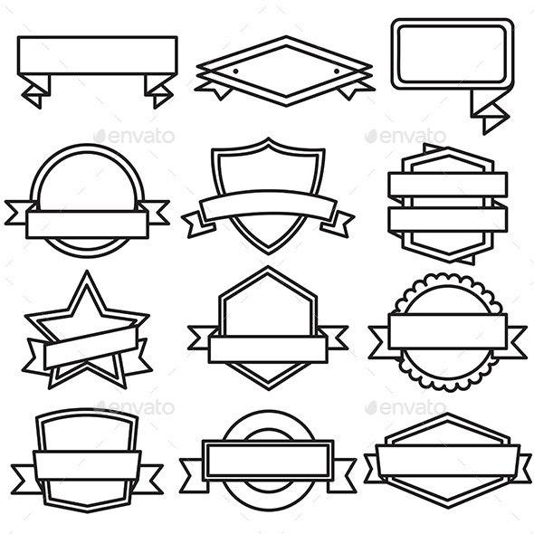 Set of Retro Vintage Badges, Ribbons and Labels - Decorative Symbols Decorative