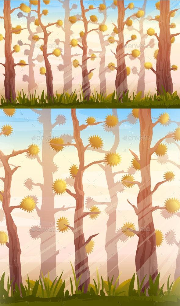 Cartoon Forest Background Landscape - Landscapes Nature