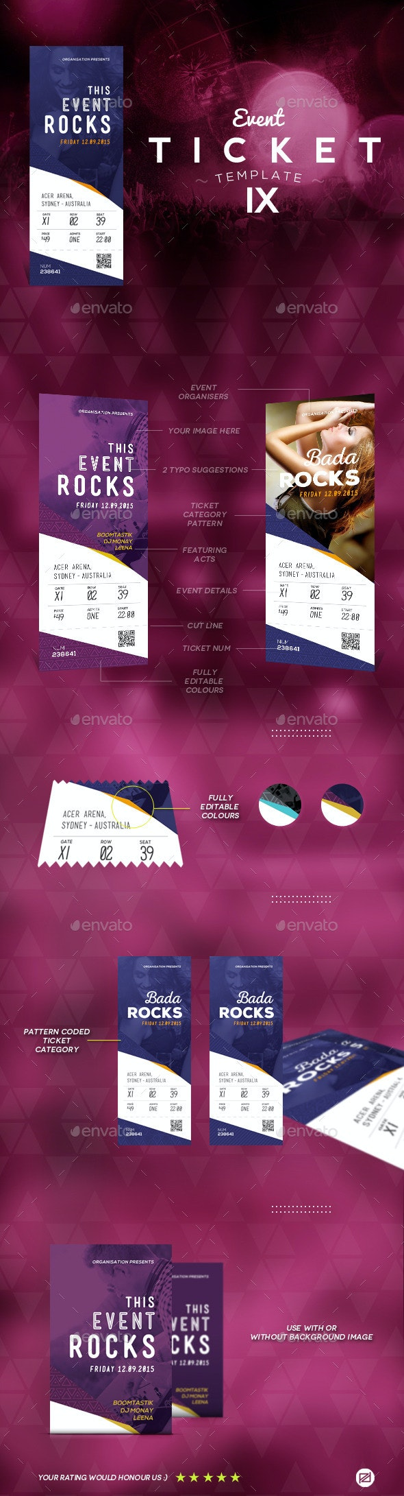 Events Ticket Template 9 - Miscellaneous Print Templates