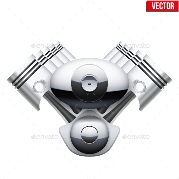 Concept of Modern Car Engine with Pistons