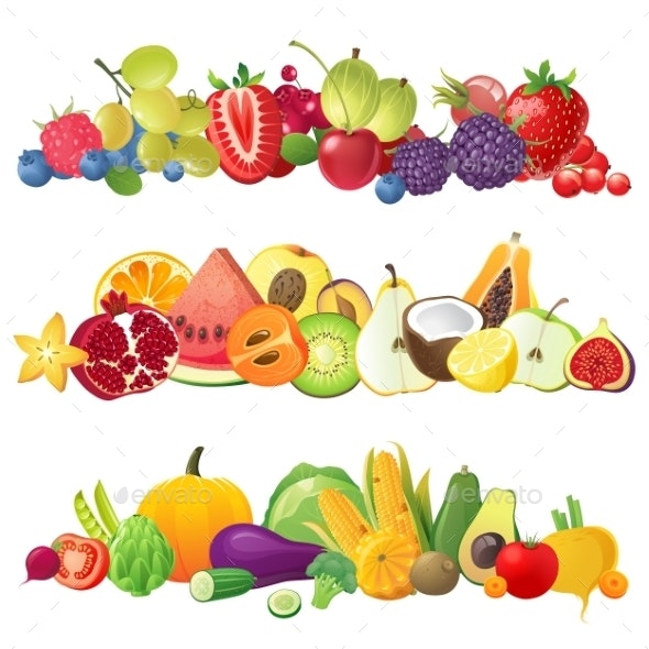 Fruits Vegetables and Berries Borders - Food Objects