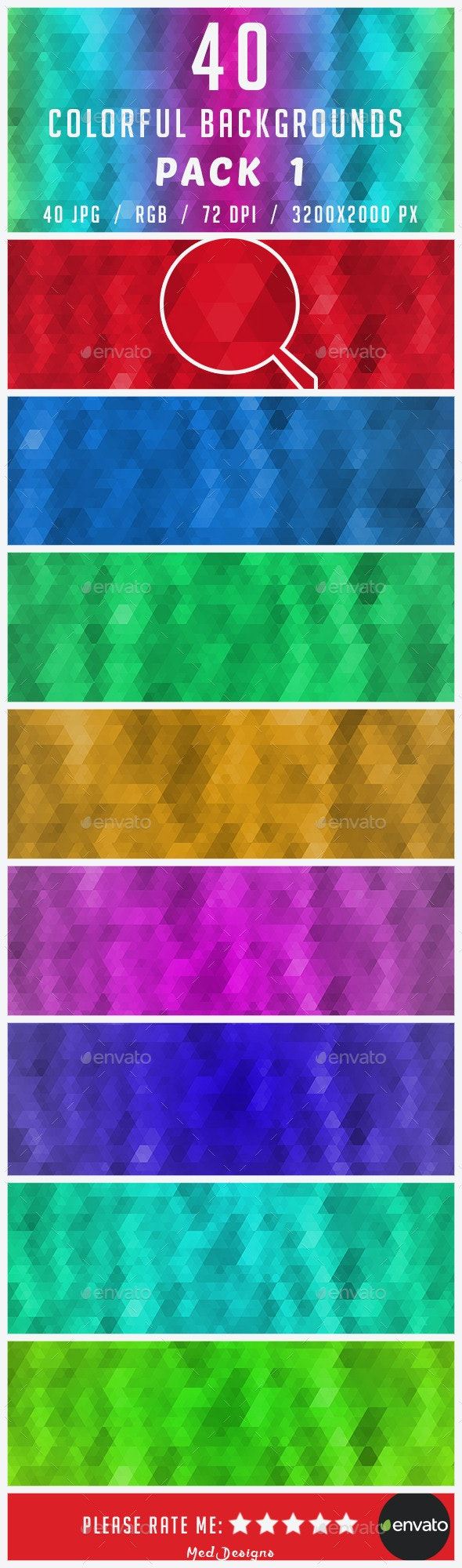 40 Colorful Backgrounds (Pack 1) - Backgrounds Graphics