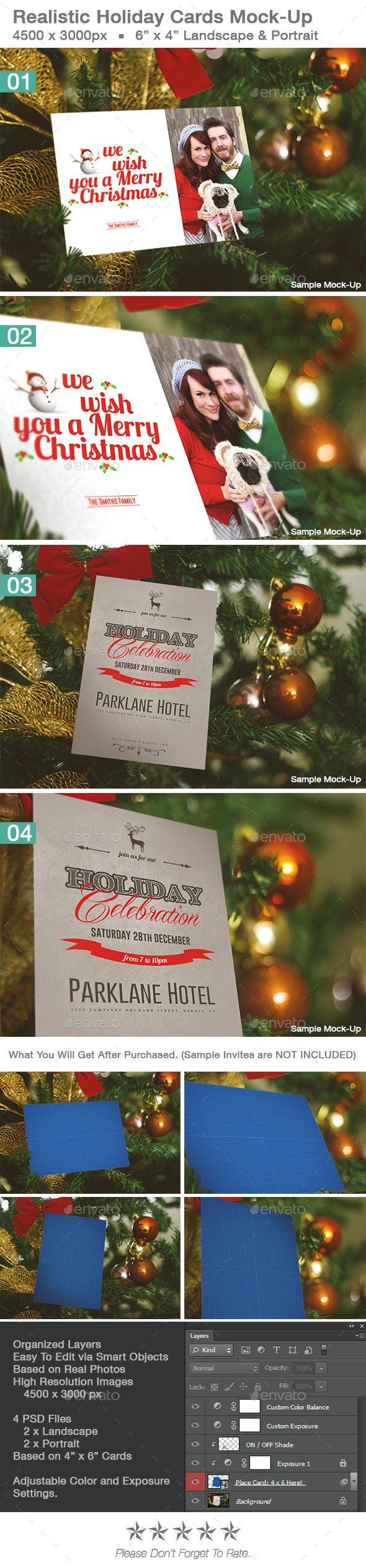Realistic Holiday Card Mock-Up Vol 1 - Print Product Mock-Ups