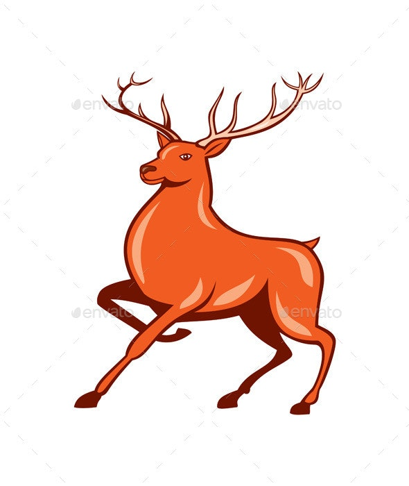 Red Stag Deer Side Marching Cartoon - Animals Characters