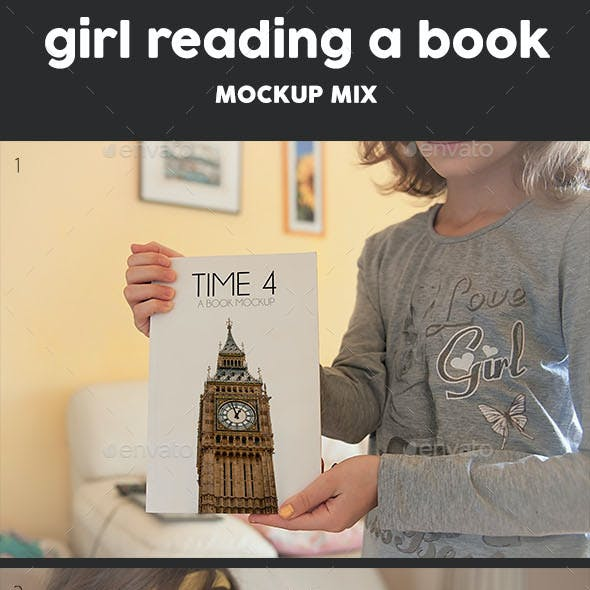Girl Reading Book Mockup