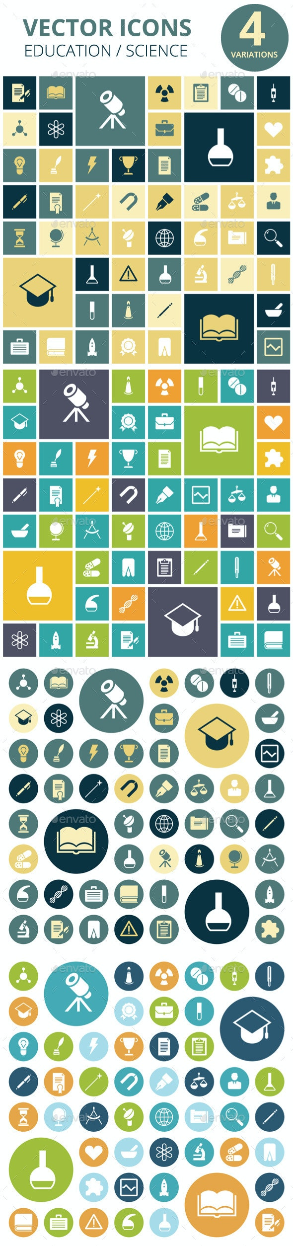 Flat Design Icons for Education and Medical - Icons