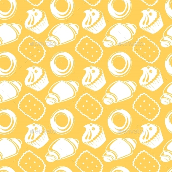 Seamless Pattern of Outlined Pastries - Backgrounds Decorative