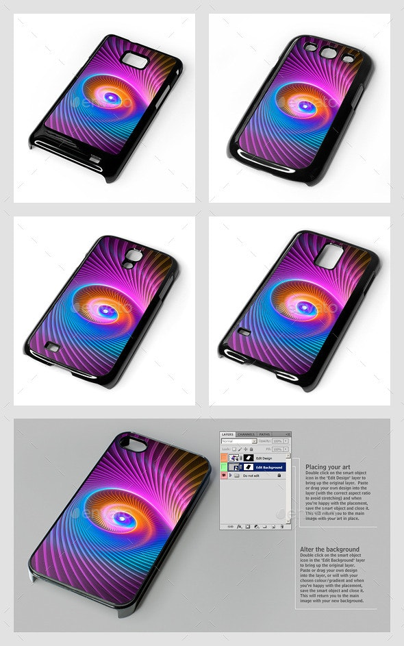 Galaxy S Smartphone Sublimation Covers Mock-Ups - Product Mock-Ups Graphics