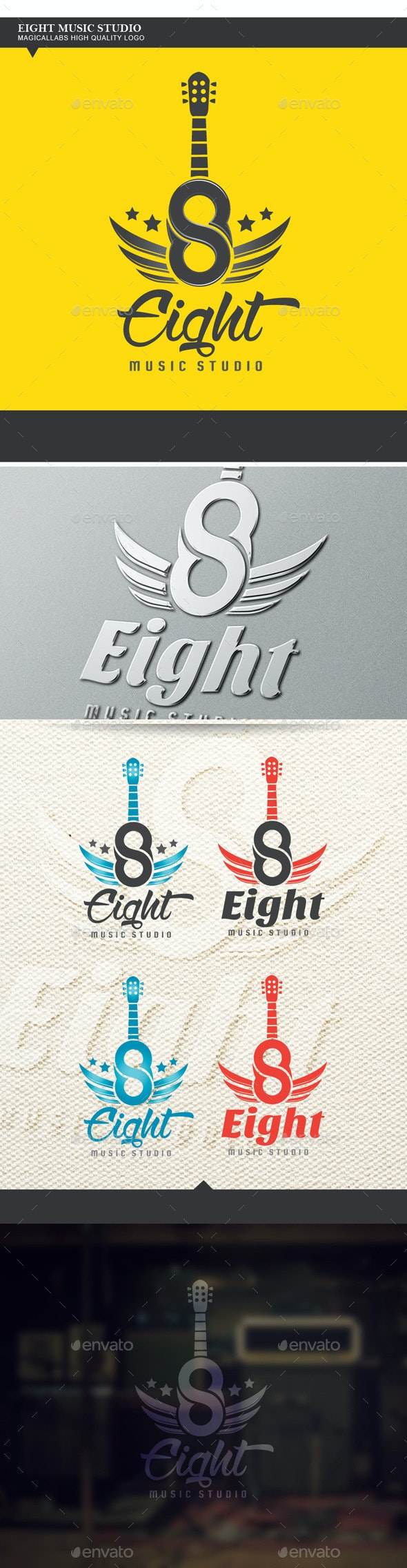 Eight Music Studio Logo - Numbers Logo Templates
