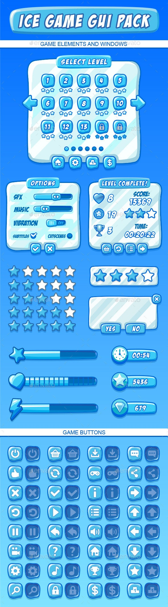 Ice Games GUI Pack - User Interfaces Game Assets