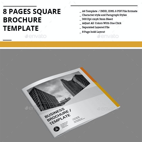 8 Pages Square Brochure Template