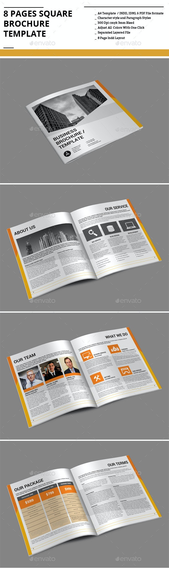 8 Pages Square Brochure Template - Corporate Brochures