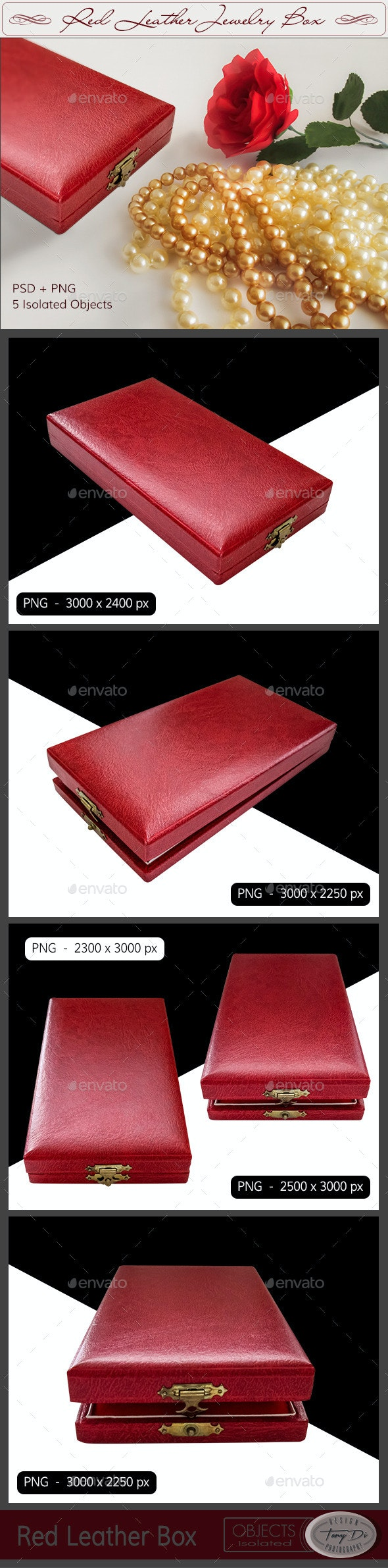 Red Leather Jewelry Box - Clothes & Accessories Isolated Objects