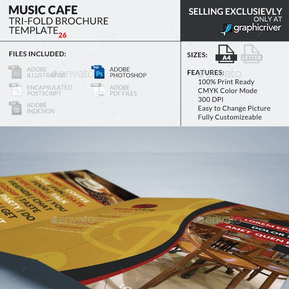 Trifold Brochure 26 : Music Cafe