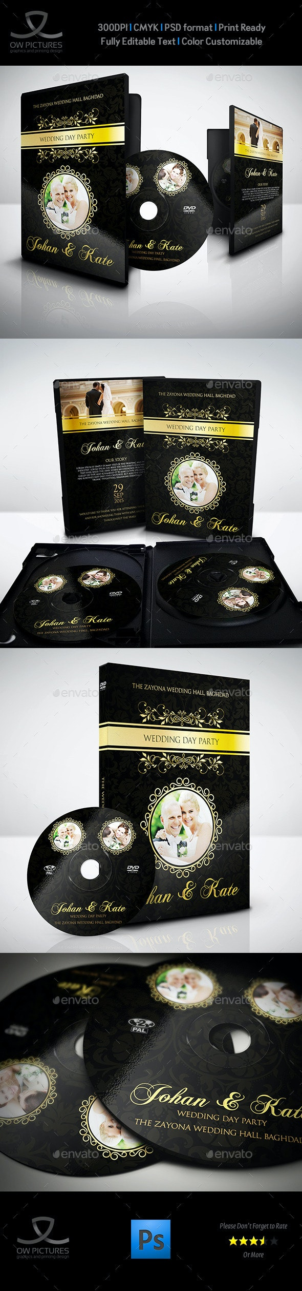 Wedding DVD Cover and DVD Label Template Vol.3 - CD & DVD Artwork Print Templates
