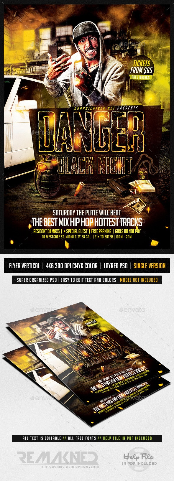 Danger Black Night Hip Hop | Flyer Template PSD - Clubs & Parties Events