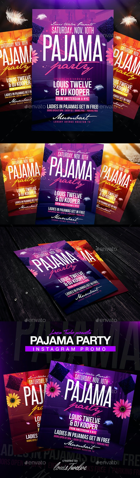 Pajama Party Flyer + Instagram Promo - Clubs & Parties Events