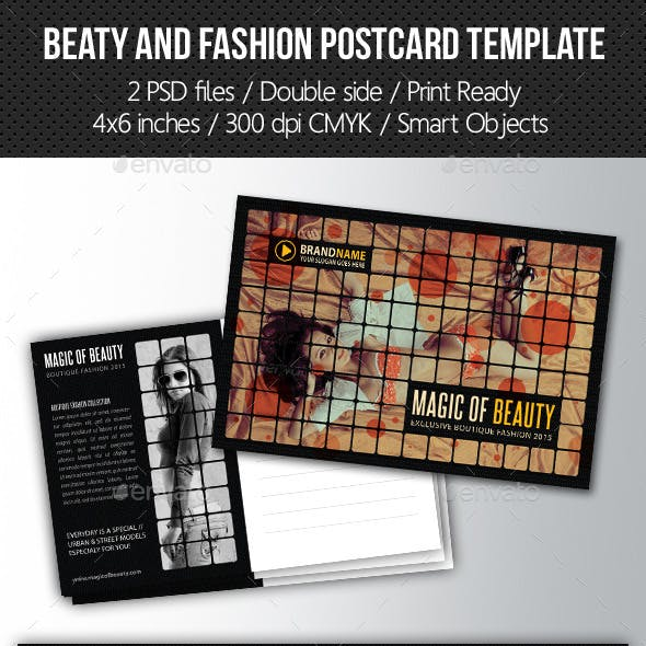 Fashion and Beauty Postcard Template