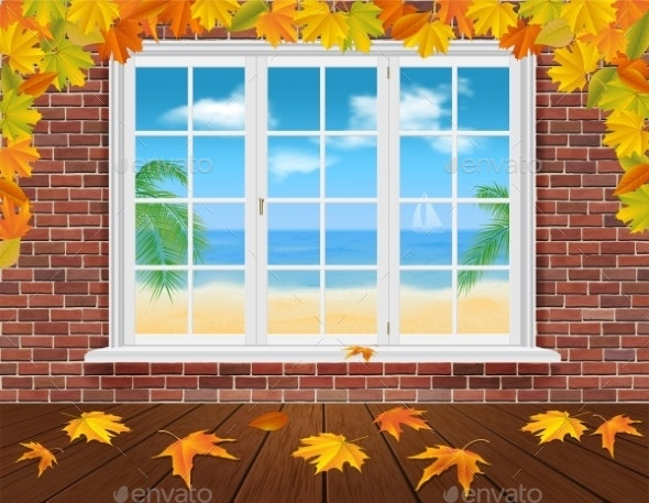 Autumn Wall and Summer Window - Travel Conceptual
