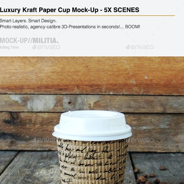 Luxury Kraft Paper - Disposable Coffee Cup Mock-Up