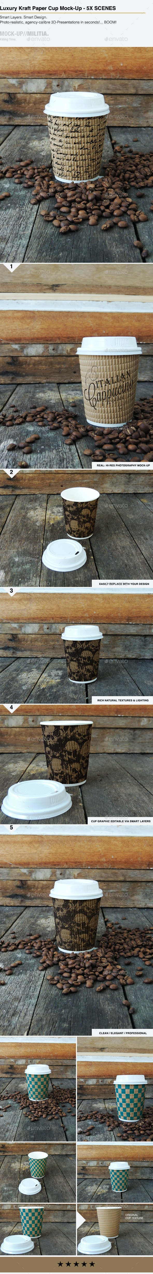 Luxury Kraft Paper - Disposable Coffee Cup Mock-Up - Food and Drink Packaging