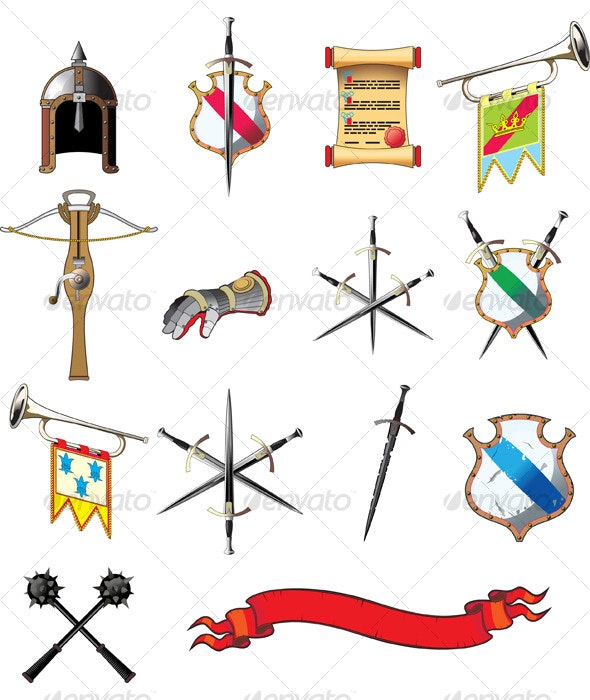 Medieval weapon icon set - Man-made Objects Objects