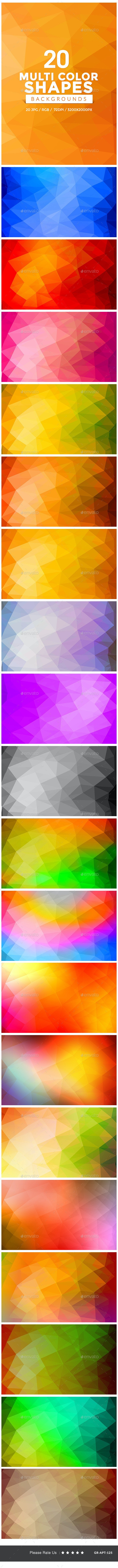 20 Multi Color Shape Backgrounds - Abstract Backgrounds