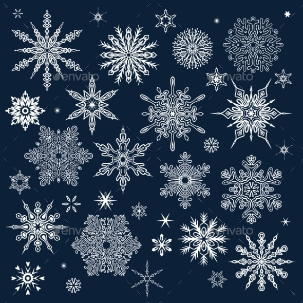 Winter Pattern with Various Falling Snowflakes - Christmas Seasons/Holidays