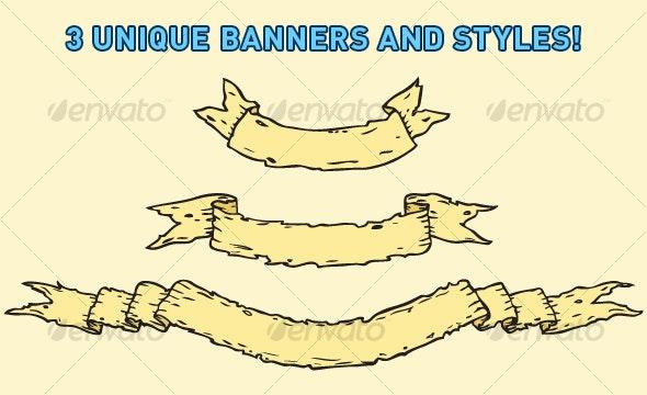 Tattered Scroll / Banner - Decorative Symbols Decorative