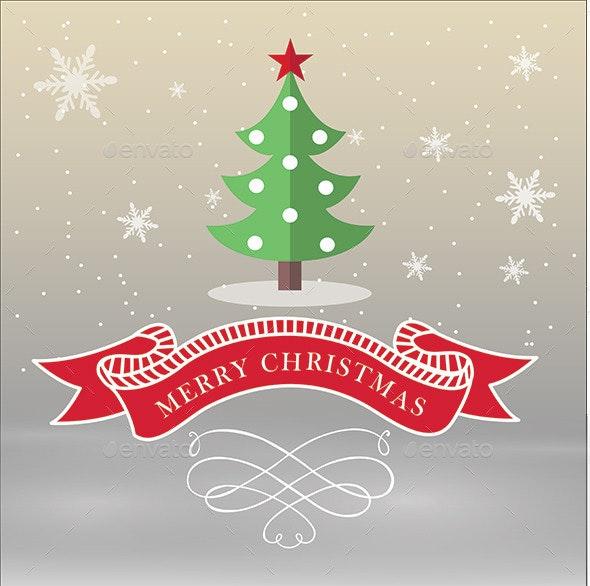 Merry Christmas with Ribbon Elements - Christmas Seasons/Holidays