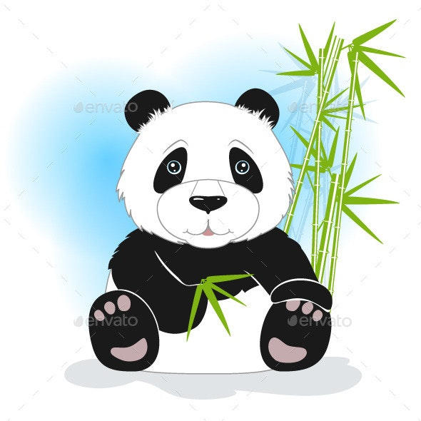Sitting Panda with Green Bamboo - Animals Characters
