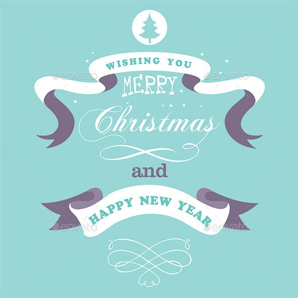 Merry Christmas Greeting Design with Ribbon - Christmas Seasons/Holidays