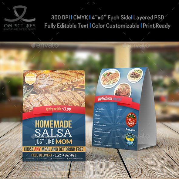 Restaurant and Cafe Table Tent Template Vol2