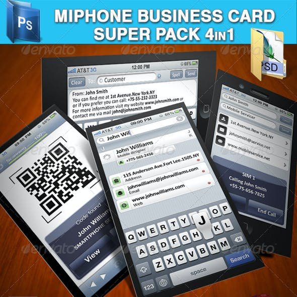 MiPhone Business Card Super Pack 4in1