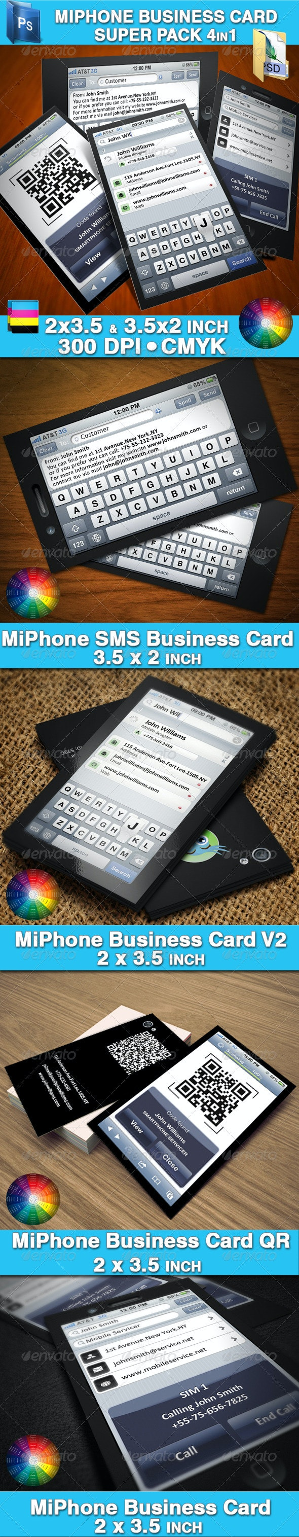MiPhone Business Card Super Pack 4in1 - Creative Business Cards