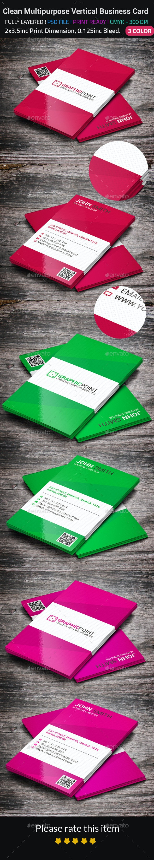 Clean Multipurpose Vertical Business Card - Corporate Business Cards