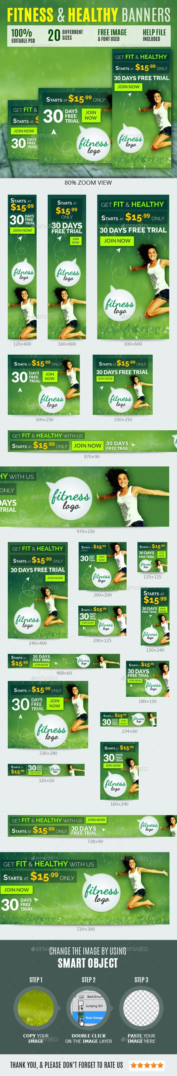 Fitness & Health Banners - Banners & Ads Web Elements