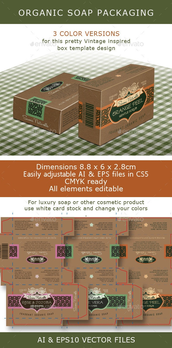 Soap Box: Brown Box for Organic Soap Bar - Packaging Print Templates