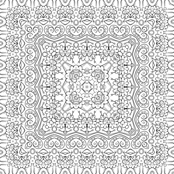Seamless Outline Floral Pattern - Patterns Decorative